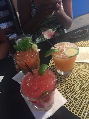 Strawberry mojito, cherry & lime margarita, & strawberry margarita